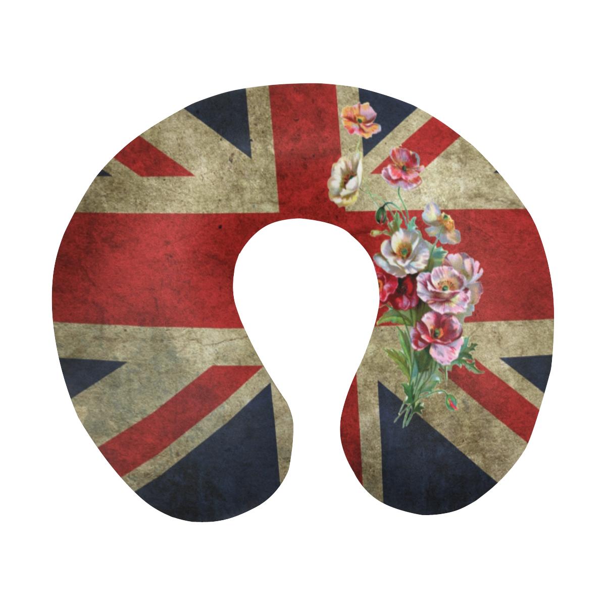 Flowery Union Jack U-Shape Travel Pillow