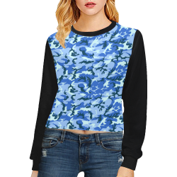 Woodland Blue Camouflage (Vest Style) Black Crop Pullover Sweatshirts for Women (Model H20)