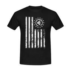 American Flag_Black Tshirt Men's Slim Fit T-shirt (Model T13)