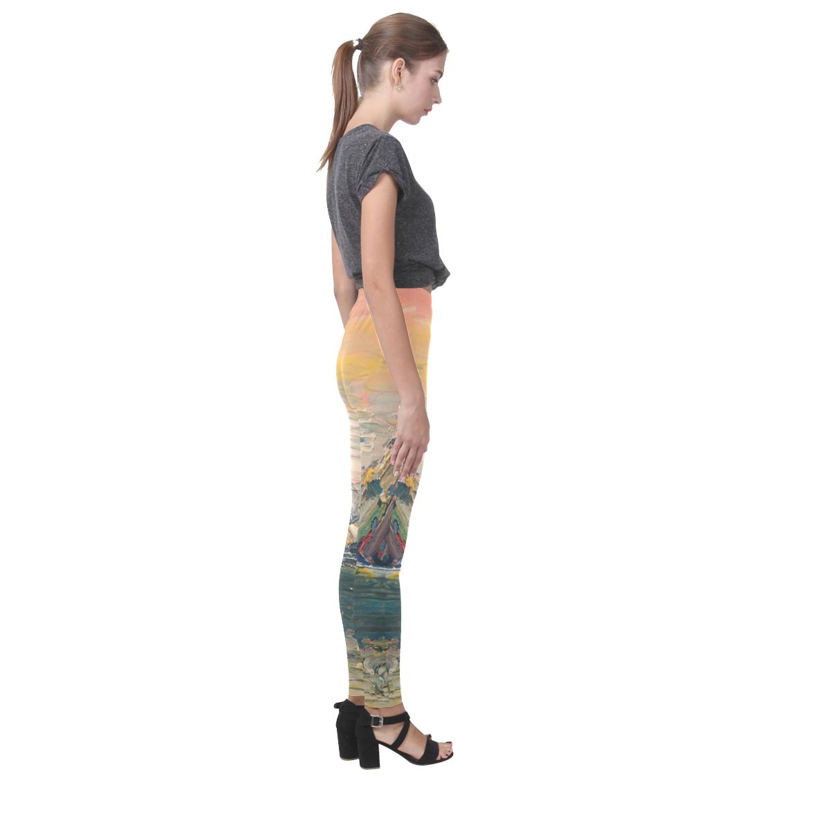 Mountains painting Cassandra Women's Leggings (Model L01)