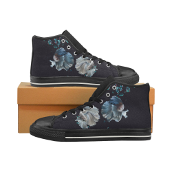 Blue Siamese Fighting Fish - Water Bubbles Photo Women's Classic High Top Canvas Shoes (Model 017)