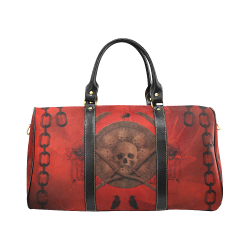 Skulls on red vintage background New Waterproof Travel Bag/Small (Model 1639)