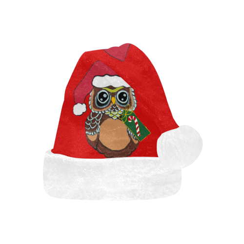 Christmas Owl Red/White Santa Hat