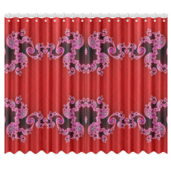 """Red Pink Mauve Hearts and Lace Fractal Abstract 2 Window Curtain 50""""x84""""(Two Piece)"""