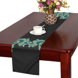 Aqua and Black  Hearts Lace Fractal Abstract Table Runner 16x72 inch