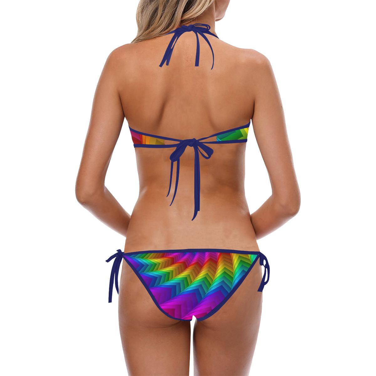 Psychedelic Rainbow Spiral Custom Halter & Side Tie Bikini Swimsuit (Model S06)