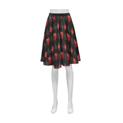 Las Vegas Black and Red Casino Poker Card Shapes on Black Athena Women's Short Skirt (Model D15)