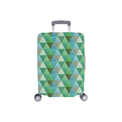 "Triangle Pattern - Green Teal Khaki Moss Luggage Cover/Small 18""-21"""