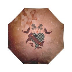 Heart with butterflies Auto-Foldable Umbrella (Model U04)