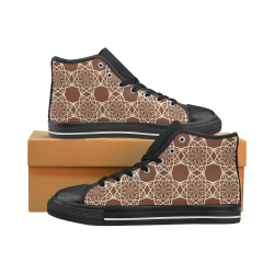 Brown and Beige Flowers Pattern Men's Classic High Top Canvas Shoes (Model 017)