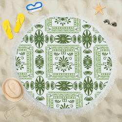 "Ethnic folk ornament Circular Beach Shawl 59""x 59"""