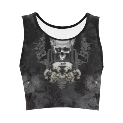 Skull with crow in black and white Women's Crop Top (Model T42)