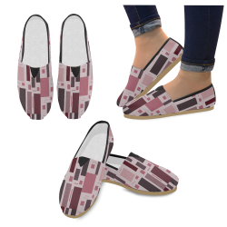 Abstract Burgundy Squares Casual Shoes for Women (Model 004)
