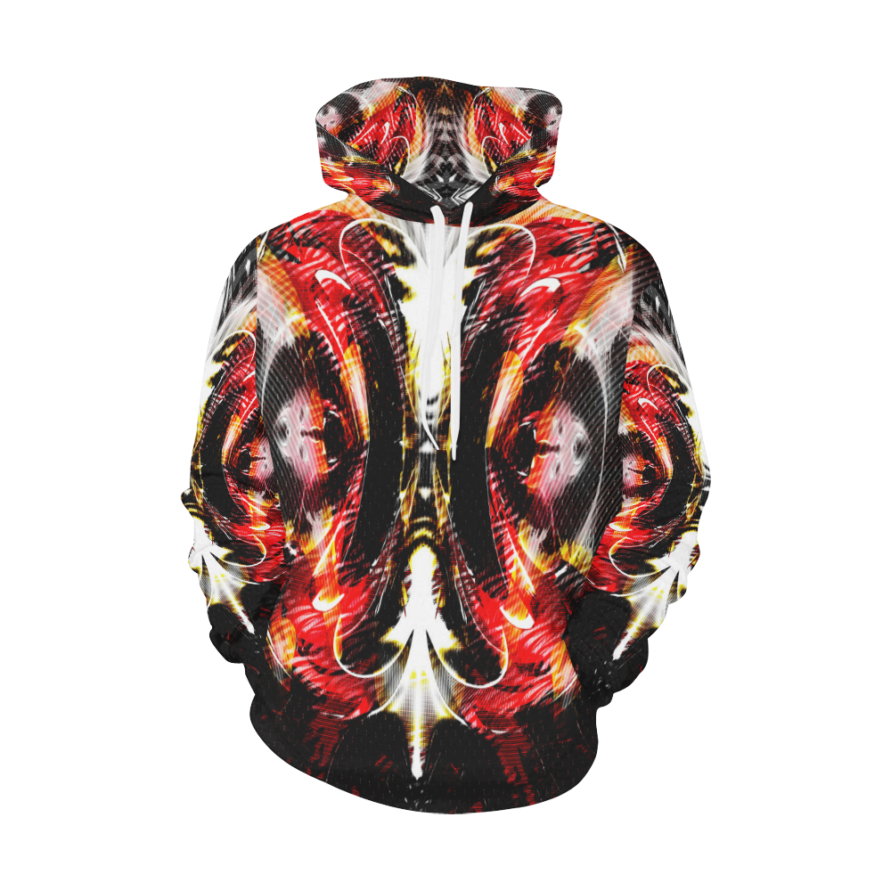 xxsml Red Rave Wild All Over Print Hoodie for Men/Large Size (USA Size) (Model H13)