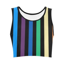 Rainbow Stripes with Black Women's Crop Top (Model T42)
