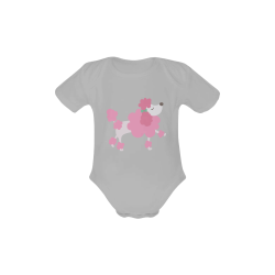 Pretty Pink Poodle Grey Baby Powder Organic Short Sleeve One Piece (Model T28)