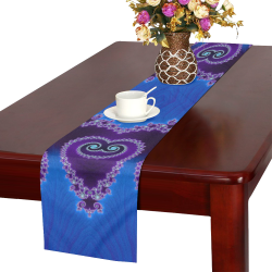 Blue Hearts and Lace Fractal Abstract 2 Table Runner 16x72 inch