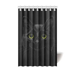 "Black Cat Shower Curtain 48""x72"""