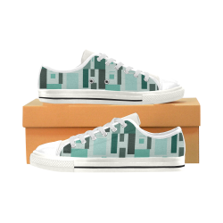 Abstract Green Squares Low Top Canvas Shoes for Kid (Model 018)