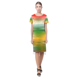 noisy gradient 3 by JamColors Short Sleeves Casual Dress(Model D14)