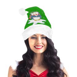 Adorable Christmas Penguin Green/White Santa Hat