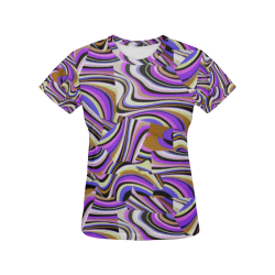 Groovy Retro Renewal - Purple Waves All Over Print T-Shirt for Women (USA Size) (Model T40)