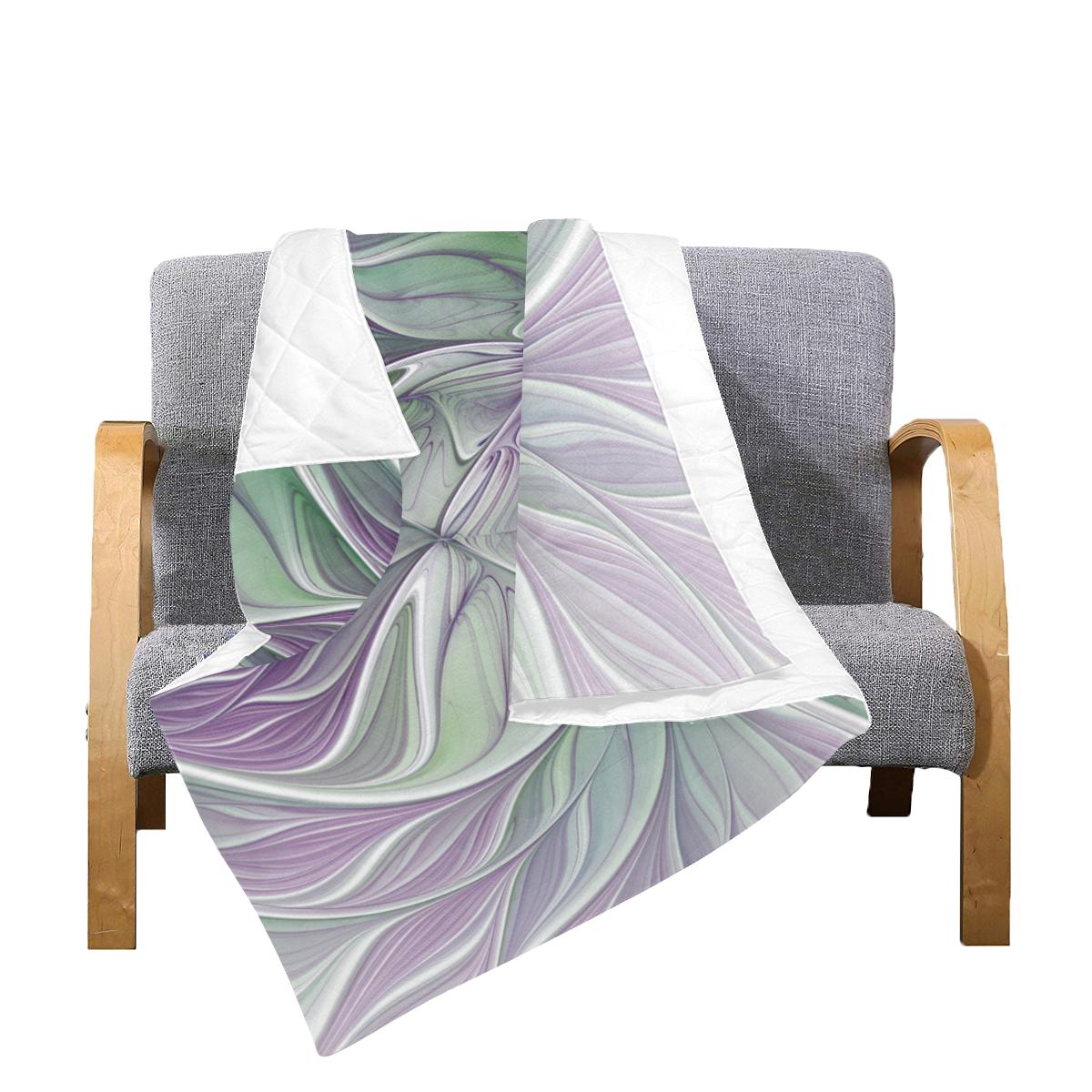 "Flower Dream Abstract Purple Sea Green Floral Fractal Art Quilt 60""x70"""