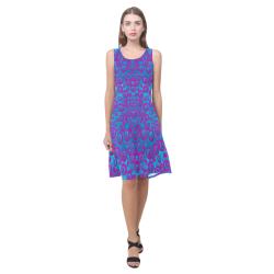 The eyes of freedom in polka dot cartoon pop art Sleeveless Splicing Shift Dress(Model D17)