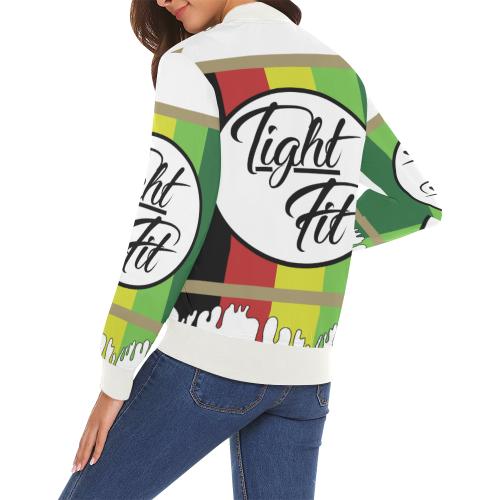 TIGHT FIT JAM 1 All Over Print Bomber Jacket for Women (Model H19)