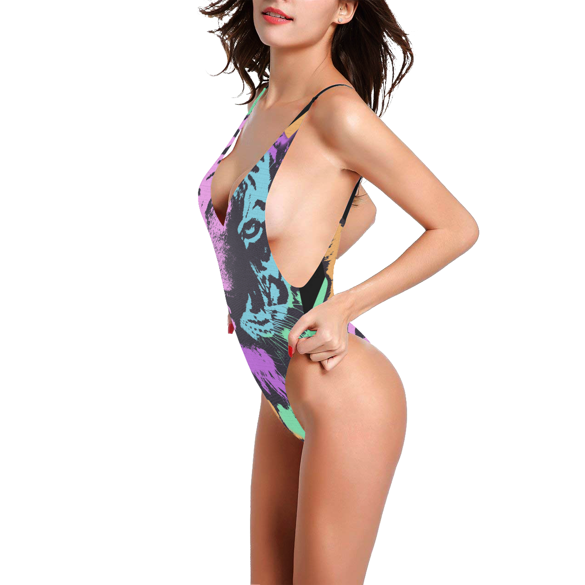 TIGER ART COLORFUL Sexy Low Back One-Piece Swimsuit (Model S09)