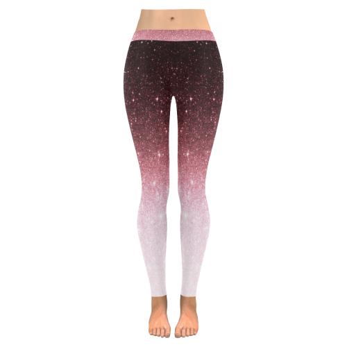 rose gold Glitter gradient Low Rise Leggings (Invisible Stitch) (Model L05)