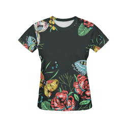 mariposas y flores All Over Print T-Shirt for Women (USA Size) (Model T40)