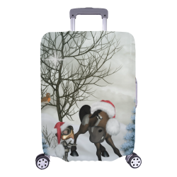 "Christmas cute bird and horse Luggage Cover/Large 26""-28"""