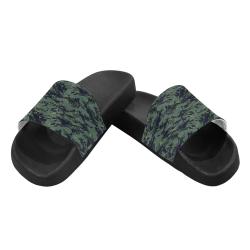 Jungle Tiger Stripe Green Camouflage Men's Slide Sandals (Model 057)