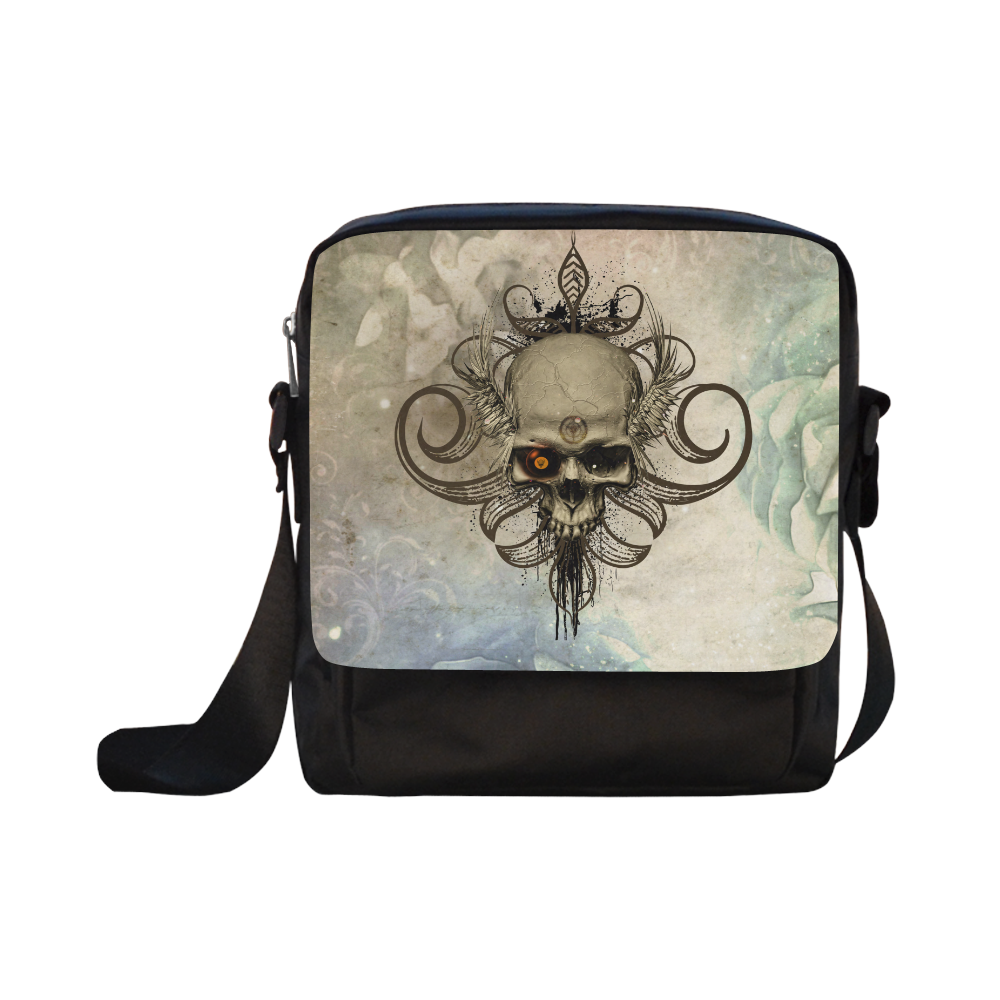 Creepy skull, vintage background Crossbody Nylon Bags (Model 1633)