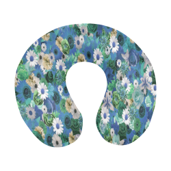 Turquoise Gold Fantasy Garden U-Shape Travel Pillow