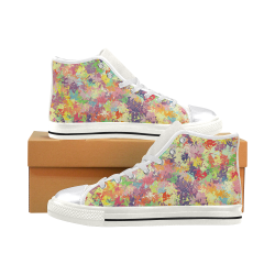 colorful pattern Women's Classic High Top Canvas Shoes (Model 017)