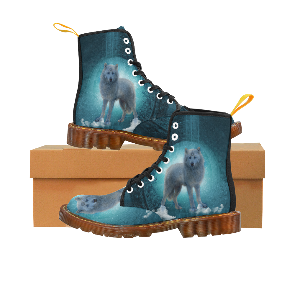 Wonderful white wolf in the night Martin Boots For Women Model 1203H