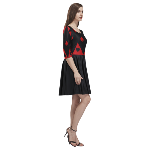 Las Vegas Black Red Play Card Shapes Tethys Half-Sleeve Skater Dress(Model D20)