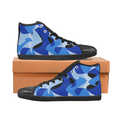 Camouflage Abstract Blue and Black Men's High Top Canvas Shoes (Model 002)