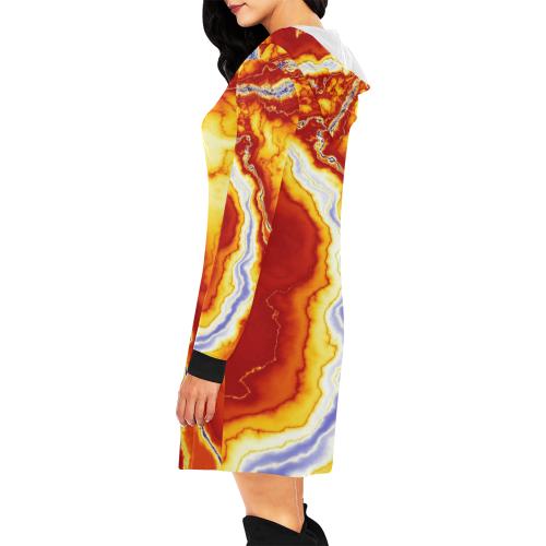 Marble Geode All Over Print Hoodie Mini Dress (Model H27)