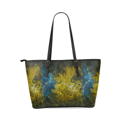 Alien Swirl Yellow Blue Tote-Handbag. Leather Tote Bag/Large (Model 1640)