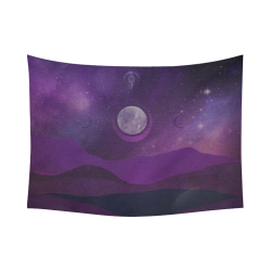 "Purple Moon Night Cotton Linen Wall Tapestry 80""x 60"""