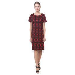 Abstract Flowing * Red on Black Short Sleeves Casual Dress(Model D14)