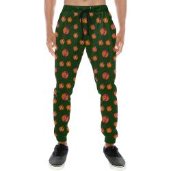Basketball Lightning Bolts Sports on Green Men's All Over Print Sweatpants (Model L11)
