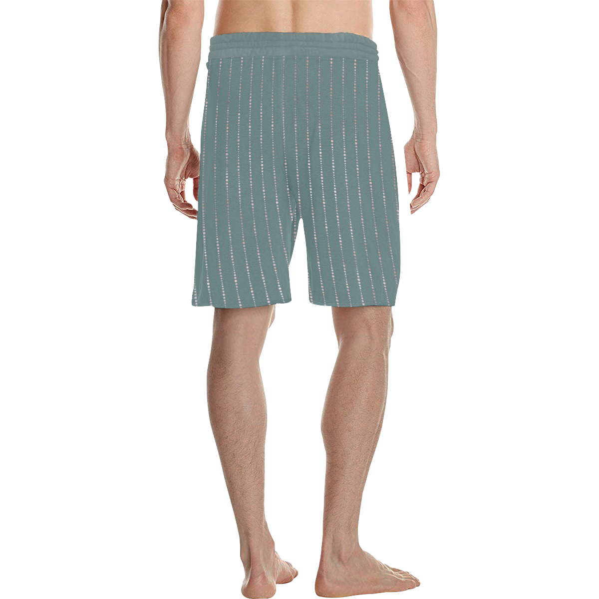 Marcelo golden stripes on stormy grey Men's All Over Print Casual Shorts (Model L23)