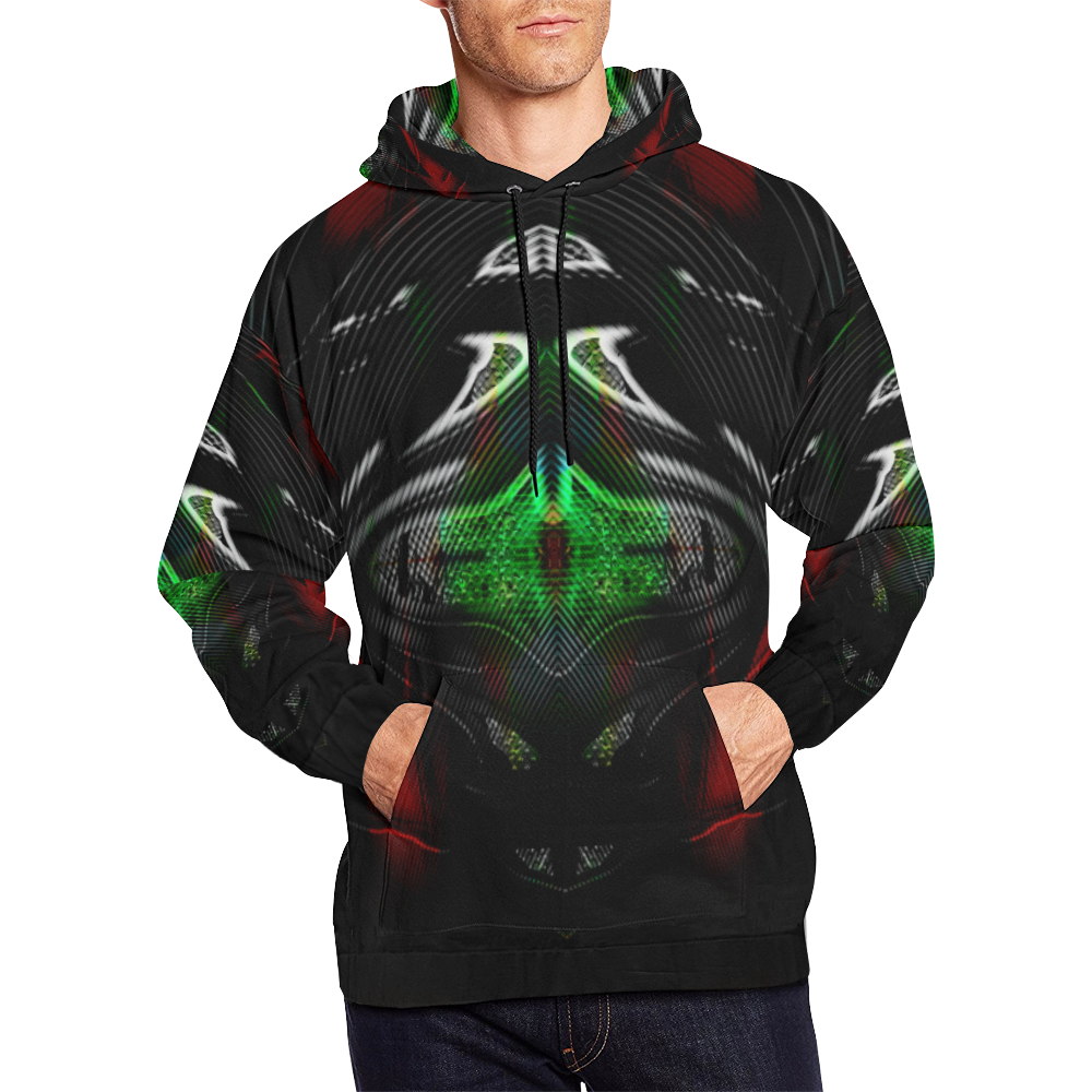 Black Bot Deep Wear Crew All Over Print Hoodie (for Men)