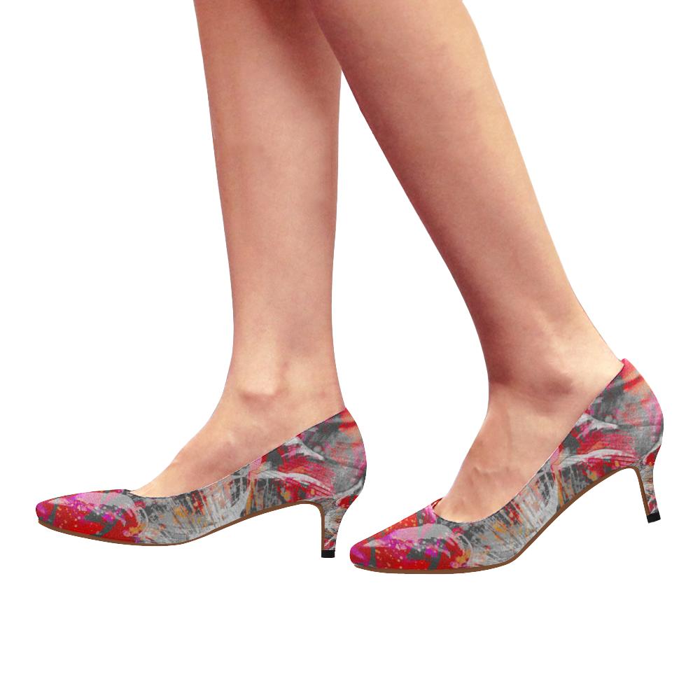 Wild White Maroon Step Crew Women's Pointed Toe Low Heel Pumps (Model 053)