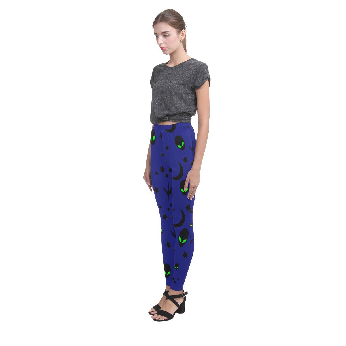 Alien Flying Saucers Stars Pattern on Blue Cassandra Women's Leggings (Model L01)