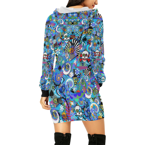 Hoodie Dress Blue Skull Skeleton Print All Over Print Hoodie Mini Dress (Model H27)